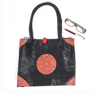 Handbags - Black Satin Asian Style Zip Top Small Tote